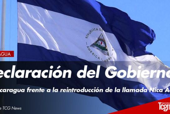 Declaración del Gobierno de Nicaragua frente a la reintroducción de la llamada Nica Act