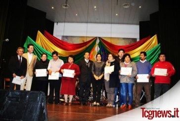 CIENTOS DE BOLIVIANOS FESTEJAN EN BERGAMO (ITALIA) EL DIA DEL ESTADO PLURINACIONAL DE BOLIVIA