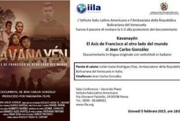 "Roma: Proiezione del documentario ""Kavanayén"" di Jean Carlos González"