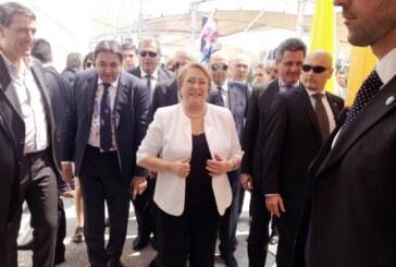 Michelle Bachelet, Presidente del Cile nel padiglione della Santa Sede a Expo