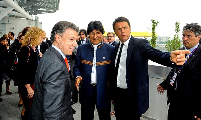 I presidenti di Messico, Bolivia e Colombia visitano Expo Milano 2015 accolti dal Premier Matteo Renzi