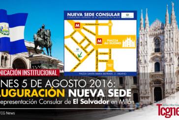 Inaugura nueva Sede de la Representación Consular de El Salvador en Milán