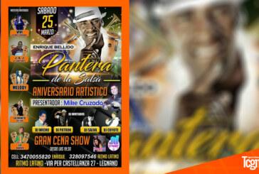 """Aniversario artístico de """"La Pantera de la Salsa"""" en Legnano"""