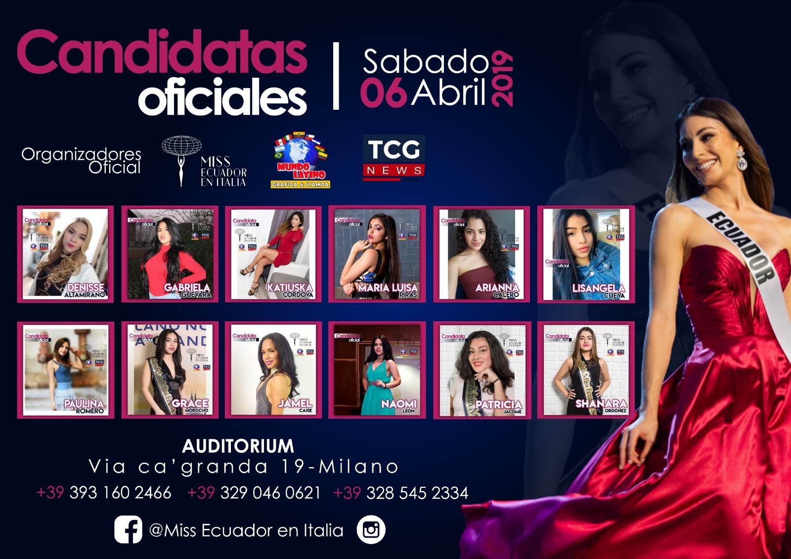 Conozca a las 12 candidatas a Miss Ecuador en Italia 2019 y vote por su favorita