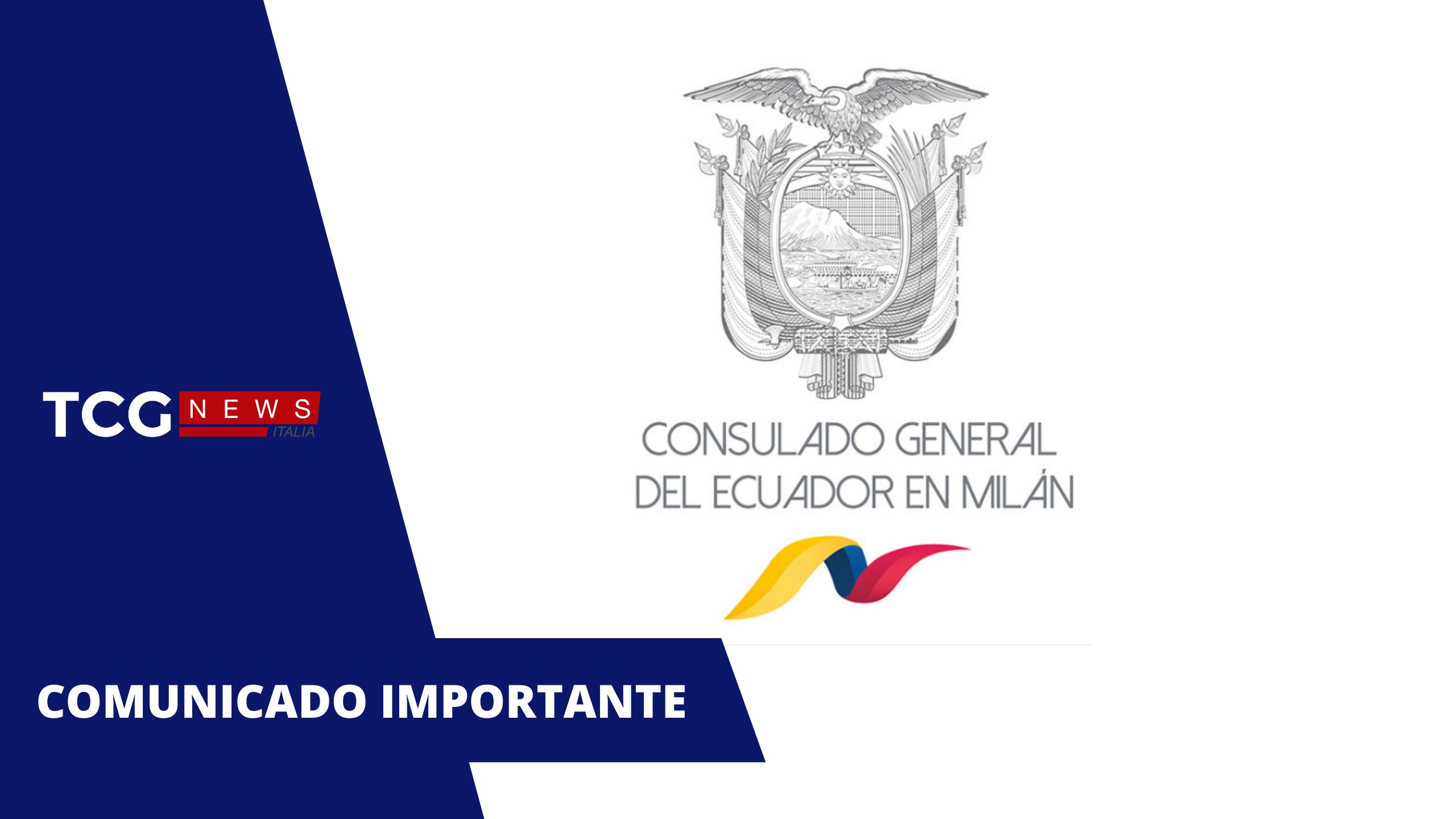 Comunicado oficial para la comunidad ecuatoriana en Italia