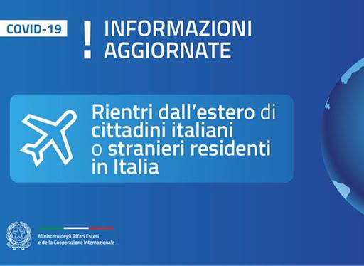 RIENTRO: ITALIANI DALL'ESTERO E CITTADINI STRANIERI IN ITALIA