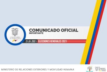 COMUNICADO OFICIAL – Elecciones Generales Ecuador 2021