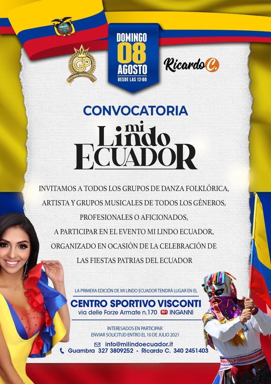 MI LINDO ECUADOR: Convocatoria para artistas, cantantes y grupos de danza